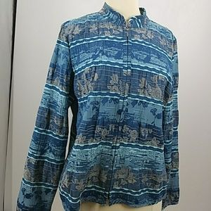 Christopher&Banks zippered blue print jacket-sz M